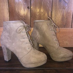 Nude Faux Suede Lace-Up Booties